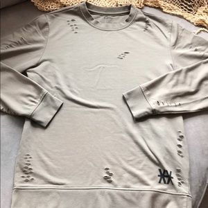 Carbon green sweatshirt distressed Sz M